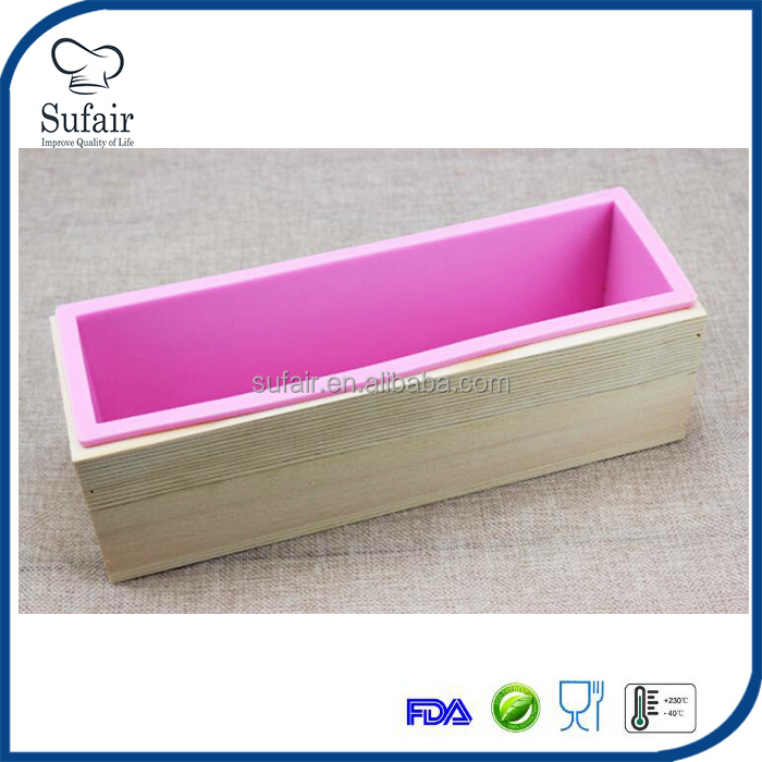 handmade loaf silicone soap mold with wood box