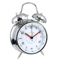 "4"" silver metal double bell clock with shiny numbers / Wecker"