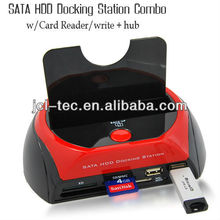 Triple SATA HDD Docking Sation +Card Reader+USB HUB with cloning Function(OTC)