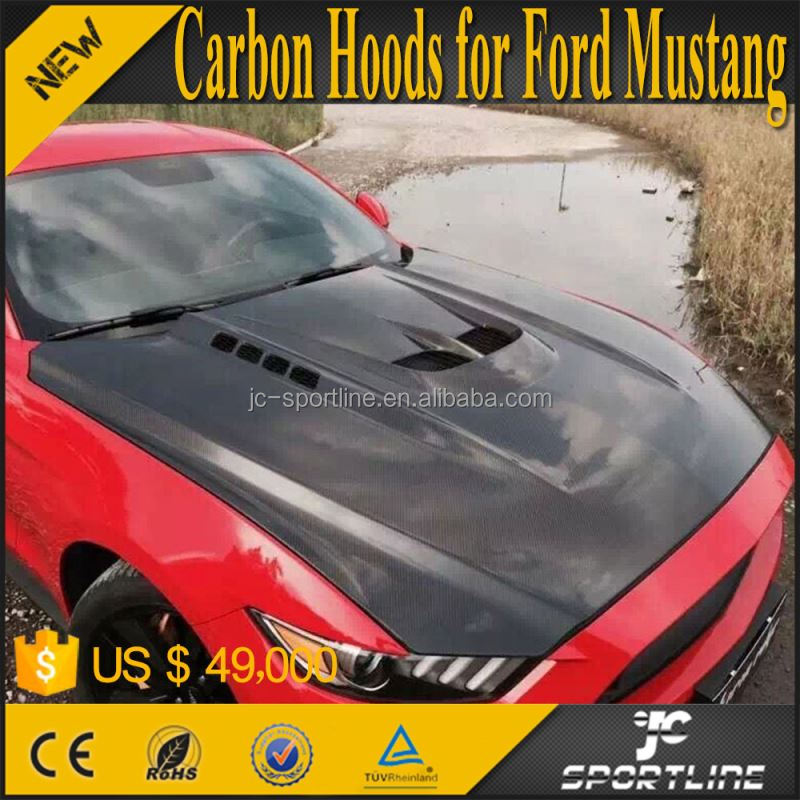 Mustang Carbon Fiber Hoods with Vents for Ford Mustang Coupe 15-16