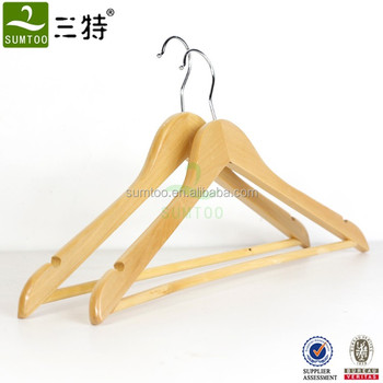Good quality natural clothes hanger wood with bar