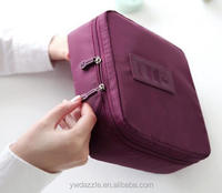 Wholesale women lady large custom plain promotional nylon canvas pu eco beauty fashion travel cosmetic bag