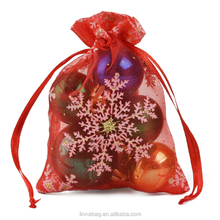 Wholesale Custom Candy Packaging Wedding Favor Christmas Drawstring Snowflake Organza Gift Bags