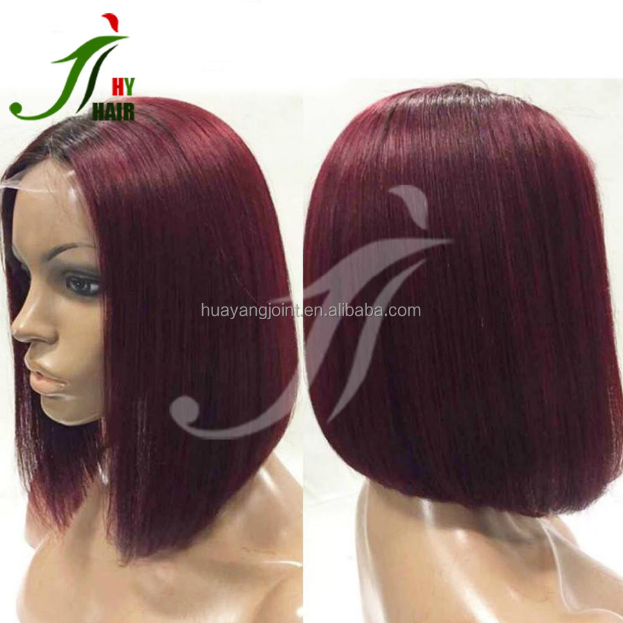 Brazilian Virgin Human Hair Sexy 1B/99J Two Tone Full Lace Wig Burgundy Ombre Lace Front Bob Wig Glueless for Black Women