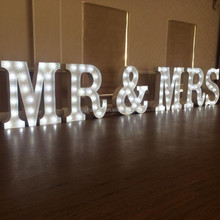 mrs and mr wedding marquee letters