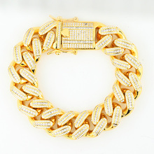 Iced Out Saudi Arabia Gold Cuban Link Bracelet Jewelry for Men