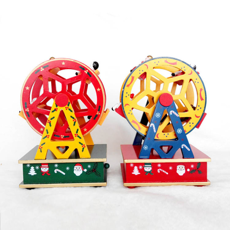 1Piece Yellow or Red, Ferris Wheel Rotating music Christmas Tree Christmas Gift Music Box Xmas Indoor Decoration