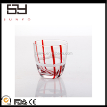 lead free crystal handblown color line wrapping drinking glass