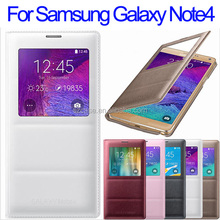 PU leather case cover for Samsung Galaxy Note 4 smart phone window case for note4