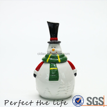 Small Ceramic Barrel Christmas Snowman Jar with Christmas tree