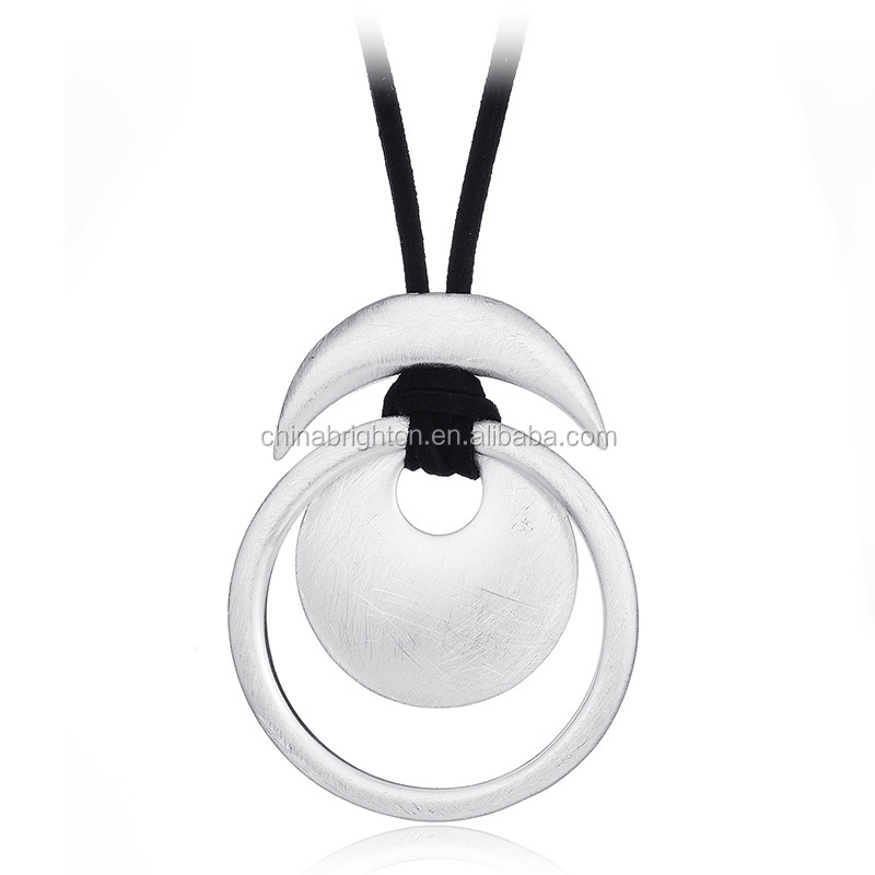 Brushed Silver Plated Black Suede With Alloy Charm Pendant Neckalce N2-21561-4400