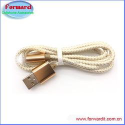 2016 new good quality aluminum 24awg dobule color fabric braied micro usb cable