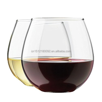 Circleware Sommelier Stemless Red Wine Glass Drinking Glasses Set,drinkware glass 15 Ounce, Set of 4