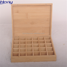 Hot Sale Bamboo Essential Oil Packaging Display Storage Box with Small Grids Wholesale