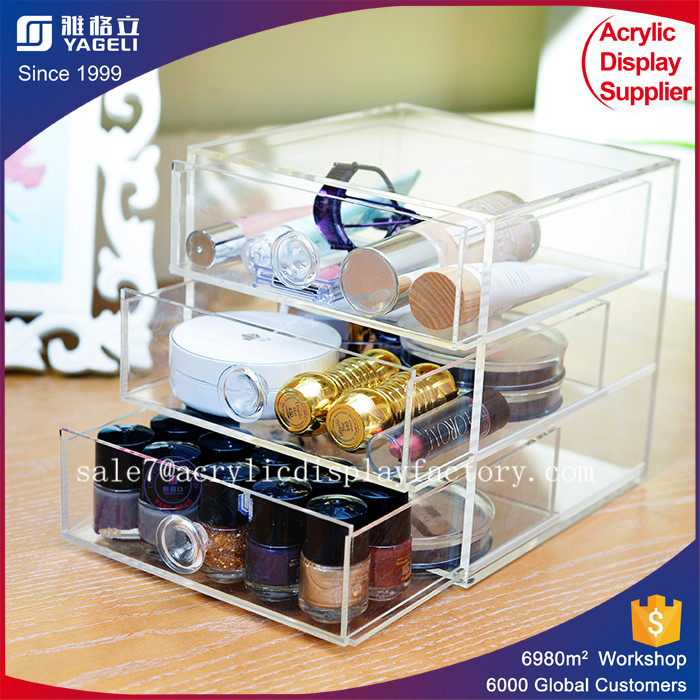 Wholesales 3 drawers clear acrylic storage box flat makeup organizer new arrival