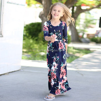 2018 Hot sale children girl long stylish cotton floral dresses fashion girl