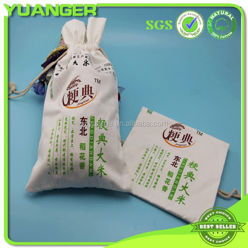 Wholesales White Canvas Drawstring Pouch For <strong>Rice</strong>