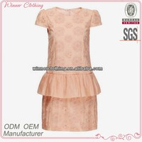 Ladies 100% Cotton Embroidered Pink Knee Length Peplum Dress