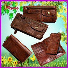 2015 hot selling genuine cowhide leather wallet with zip coin pocket for boys / men