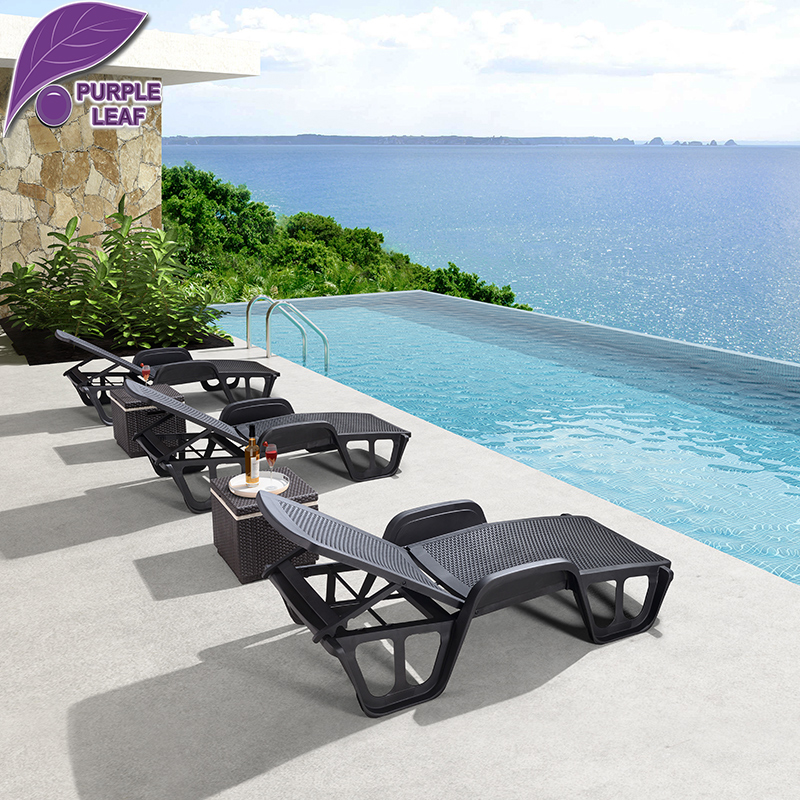 Purple Leaf Patio Garden Leisure Hotel Black Plastic Lounge Chairs for Swimming Pool and Beach