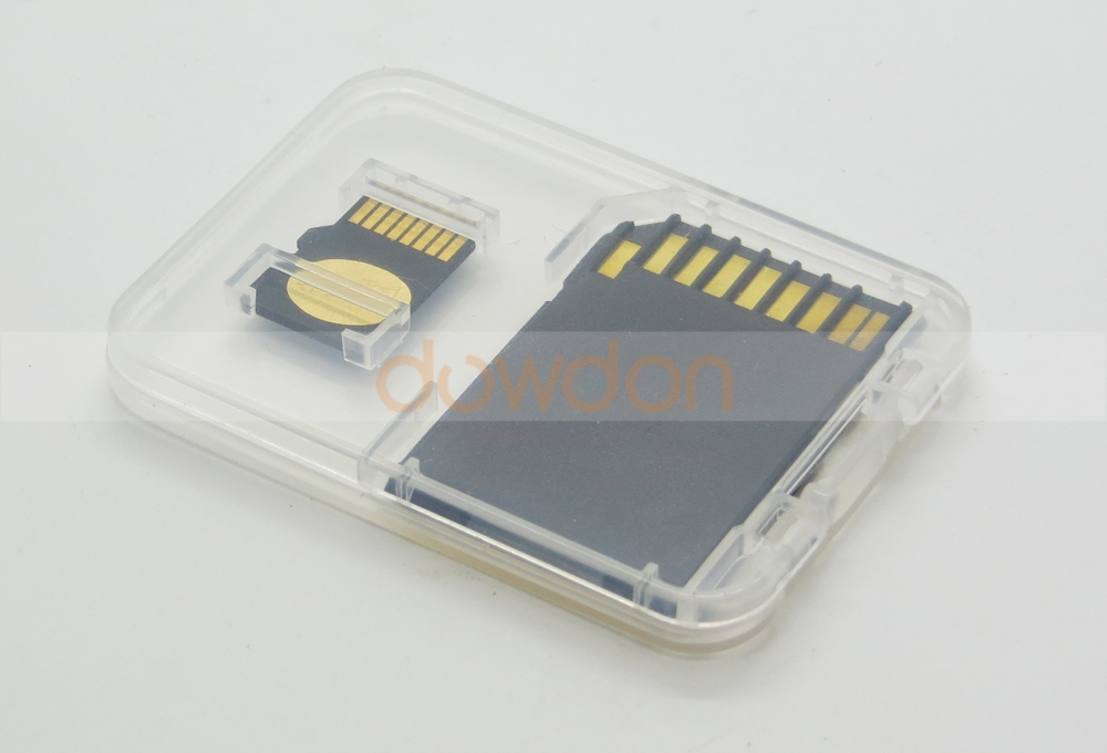 High Quality 2 in 1 Transparent Clear Memory Card Case Holder Box for SD TF Card