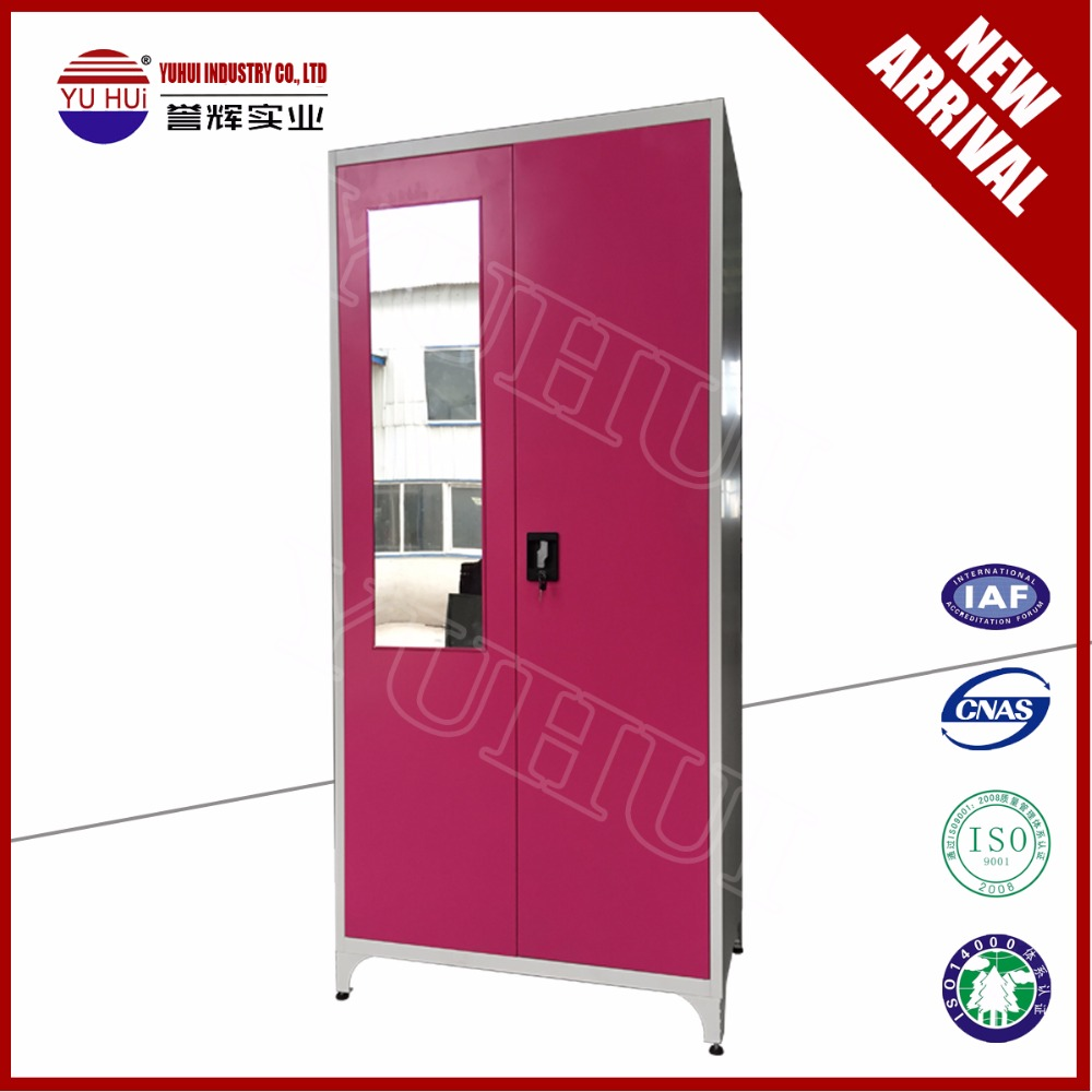 Direct Sale Bedroom Almirah Design Godrej Steel Almirah Pink Double Door Almirah Steel Cothes