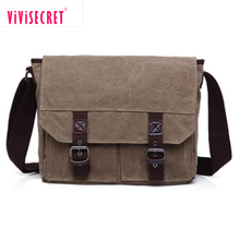Vivisecret high quality best waxed canvas men messenger bag vintage wholesale for college