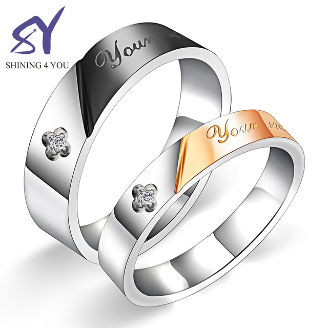 Different Size Rose Gold and Silver Rings with Flower Shape Diamond and Letter Couple Ring with Letter Design