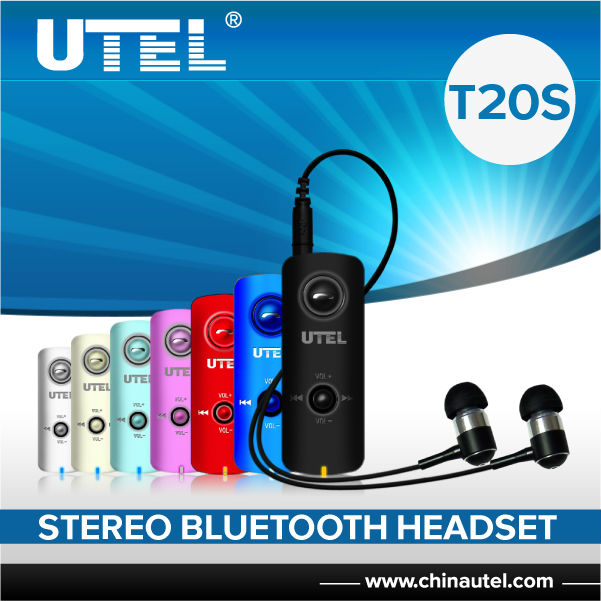 New gadgets 2014 UTEL T20S stereo bluetooth earphone with 3.5 mm earphone jack