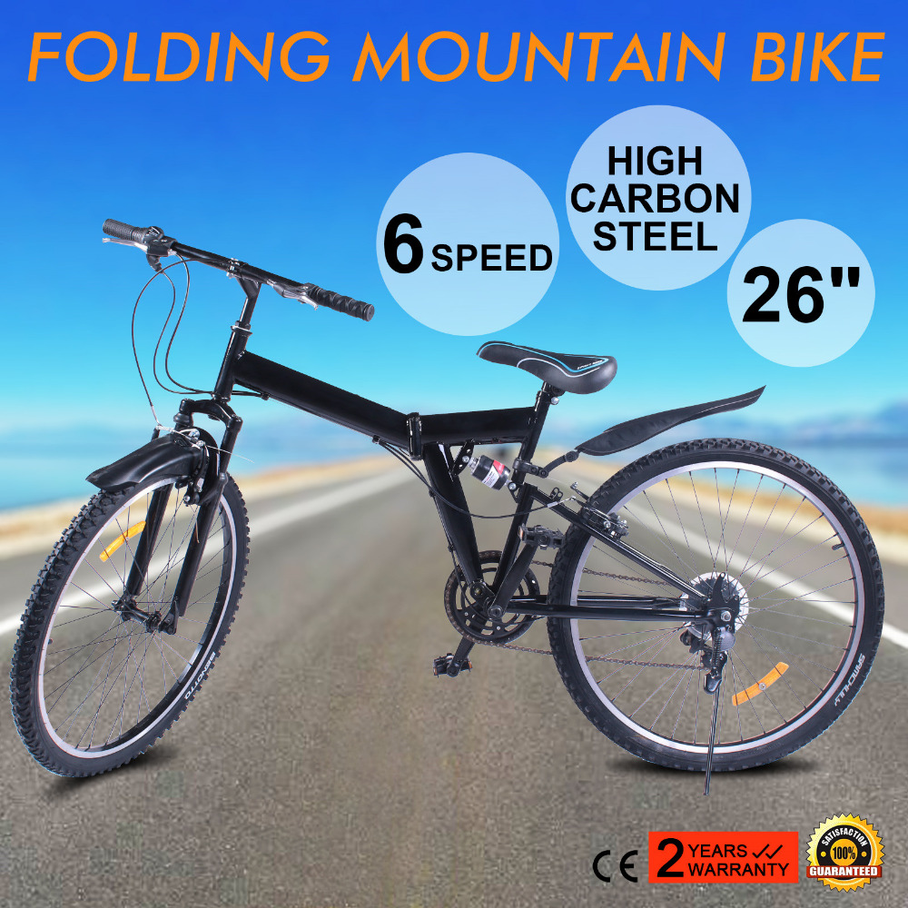 "sport bike 200cc New 26"" <strong>Folding</strong> 6 Speed Mountain Bike Bicycle School Sport Black"