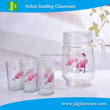 flower design juice drinking set , glass picther and tumbler water set
