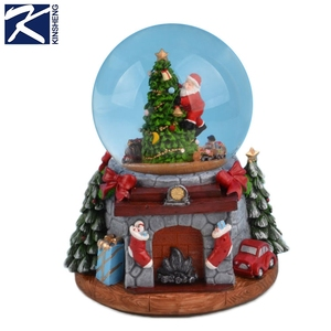 High quality custom christmas souvenir glass resin snow globe with music LED light