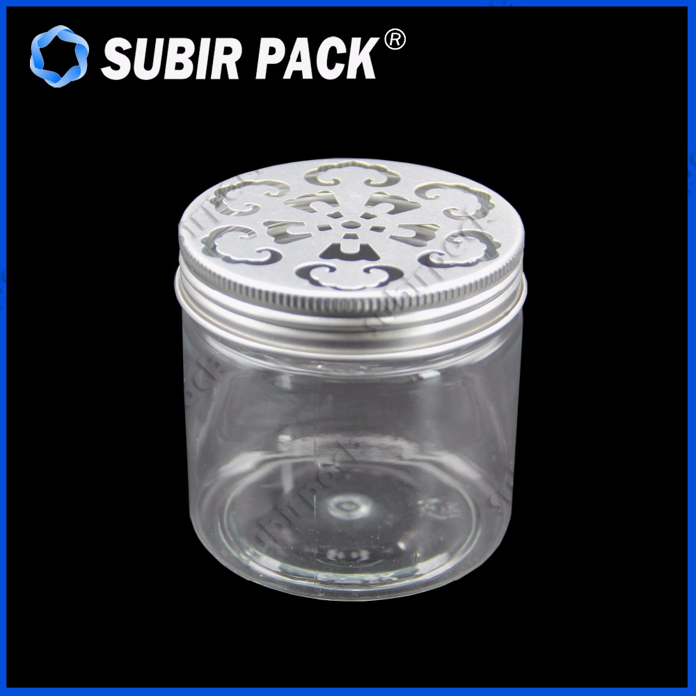 empty refillable sliver round aluminum metal lid PET jars