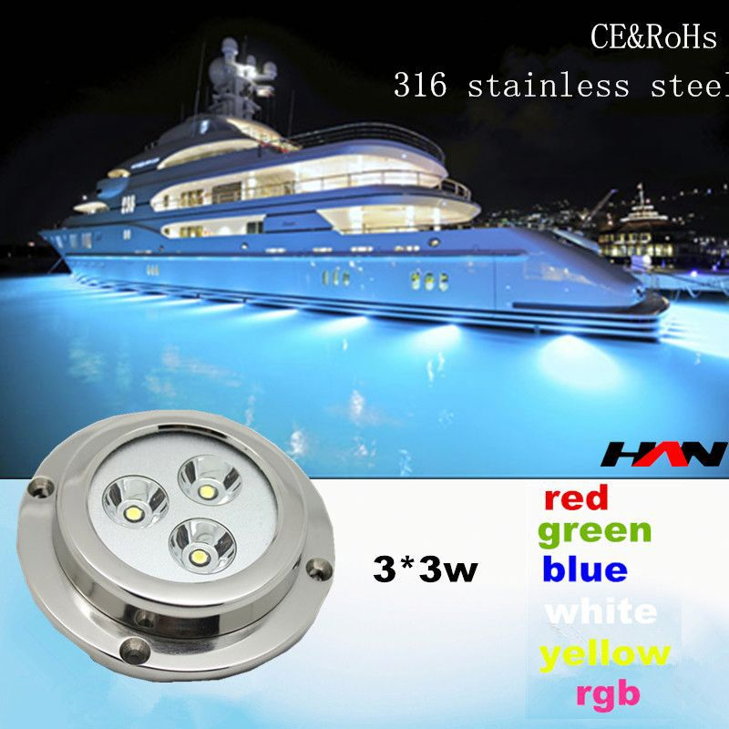 Cheap price 9W multi color 316 stailess steel 6w boat accessories led lighting