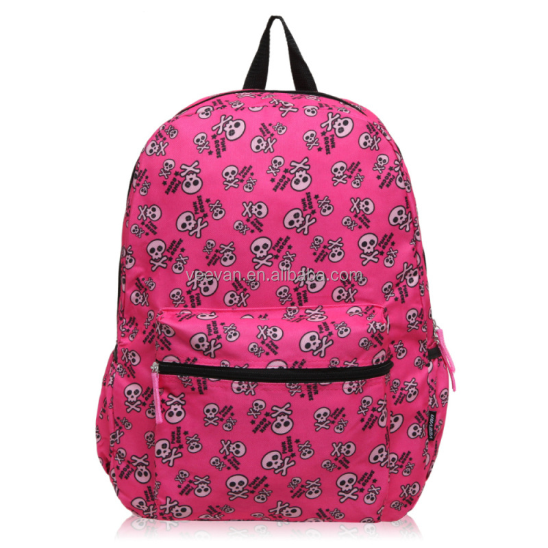 Pink 600D PVC skull printed backpack bag for children back to <strong>school</strong>