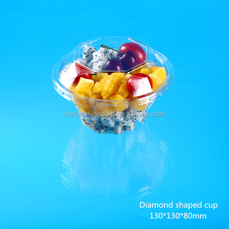 Take away disposable Plastic fresh-cut fruit salad packing cup with lid made in china