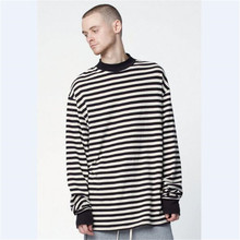 Wholesale Men Hip Hop Striped Oversized Long Sleeve TShirts Streetwear