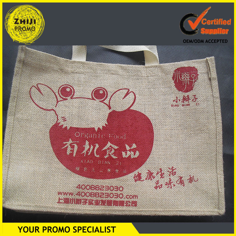 Fashion Trendy 2016 Promotional Alibaba Online Products Cheap Shopping Large Sacks Custom Screen Printing Logo Tote Jute Bag
