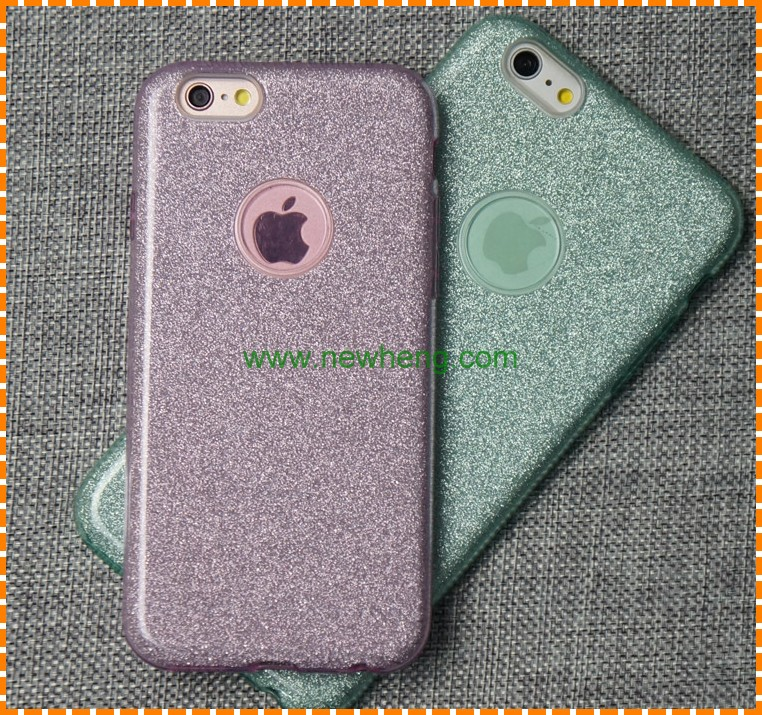 Hot selling 3 in 1 glitter Bling Color TPU PC Phone Case for iPhone 7