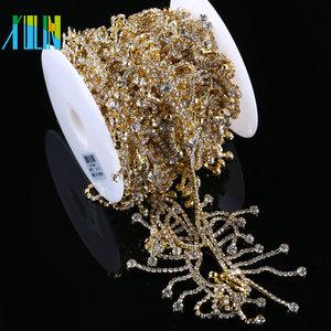 XULIN Clear Crystal Glass Tassels Chain Costume Trim Sewing Applique Chain  Rhinestone For Wedding Bridal Dress cf31b8cc7ae6