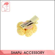 Factory sale special design flower bows with dots printed metal kids hair clip