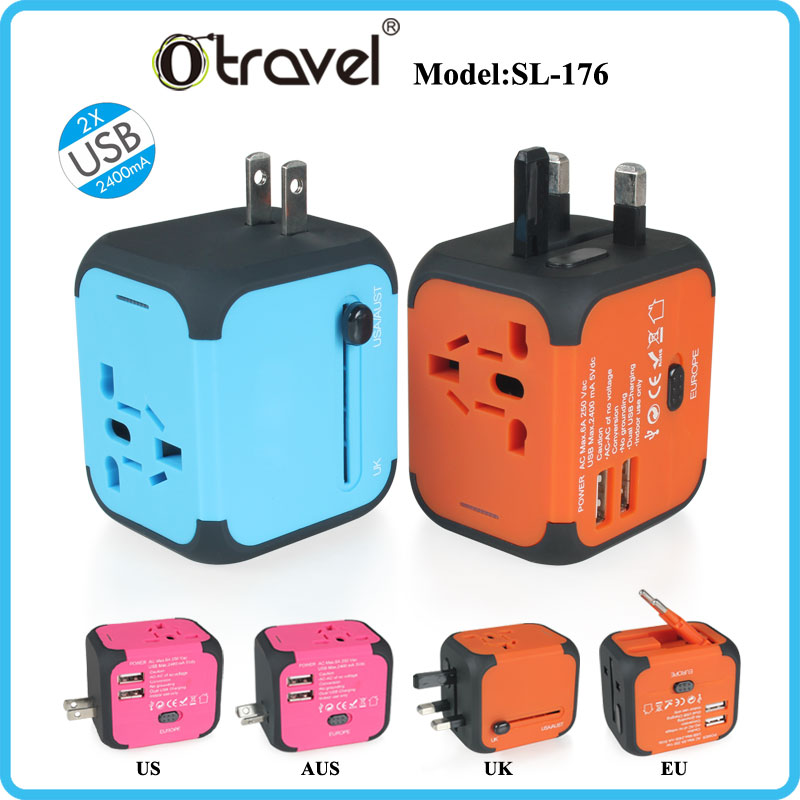 Worldwide All In One Travel Charger Wall Adapter Charging Port Dual USB 5V 2.4A EU UK US AUS Plug for iPhone 5 5S 5C 6 6 plus 7