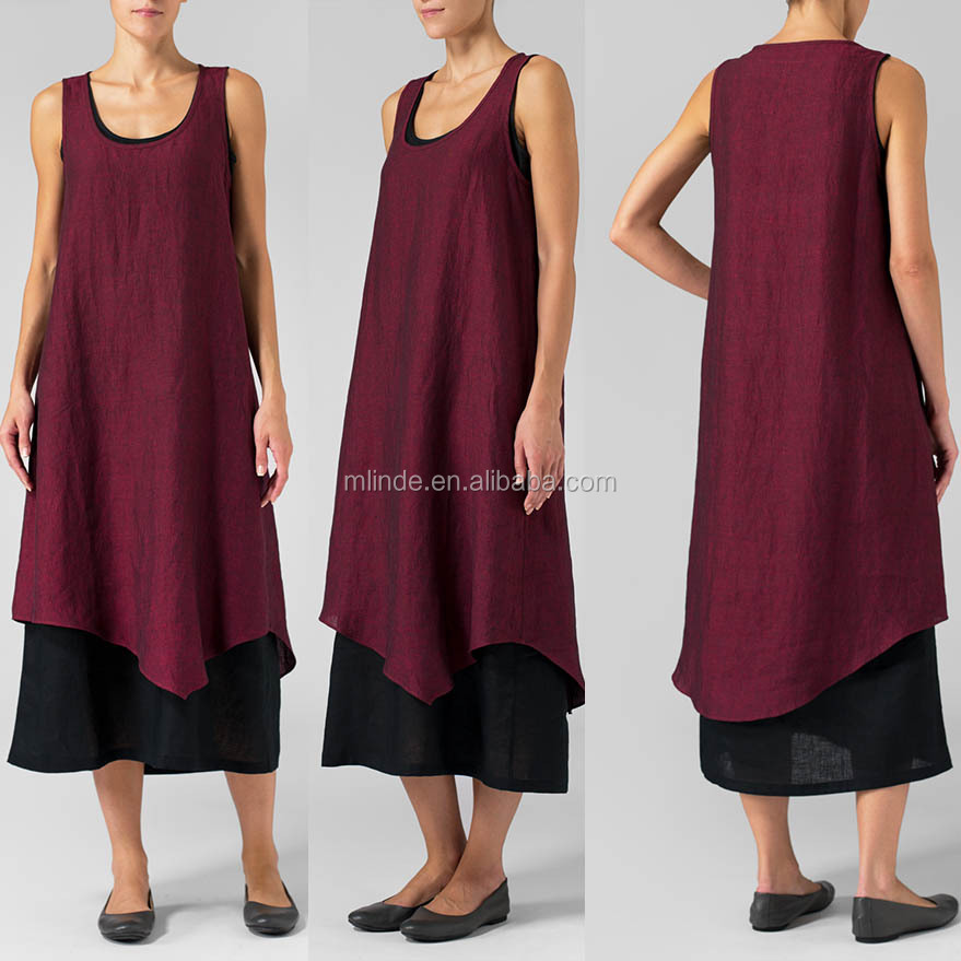 Latest Western Style Linen Dress Ladies Scoop Neck Sleeveless Dress Summer Long Linen Double Layered Dress With Asymmetric Hem