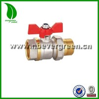 heavy duty butterfly handle Female threaded and male union Forged Brass Ball Valve
