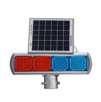 Red And Blue Solar Control Flashing Blinking Led Traffic Light