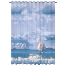 Voile printed drape curtains curtain
