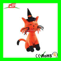 Orange Black Halloween Pumpkin Witch Hat Plush CAT Stuffed Animal Toy