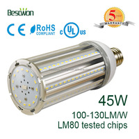 CE RoHS UL cUL approved LED corn light e27 with 100-277V Isolated driver 45w