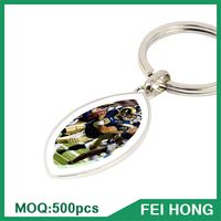 China Supplier metal two sided club souvenir football key ring