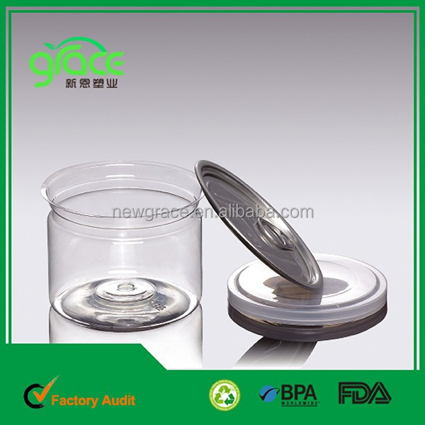 8-10 oz round aluminium snap lids plastic jar / airtight plastic bottles / ring pull can